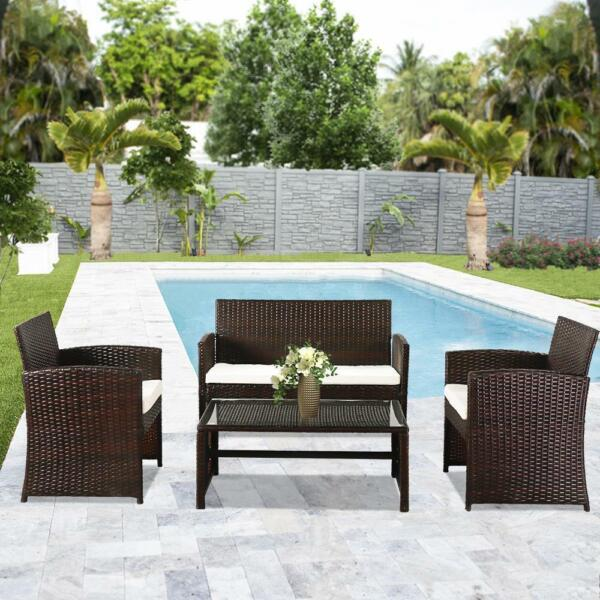 4pc Patio Furniture Set PE Wicker Cushioned Outdoor Rattan Sofa Deck Lawn Garden