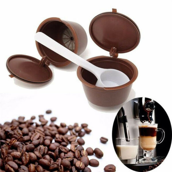 4x Reusable Capsule Pods W Cleaning Brush amp; Spoon For Dolce Gusto Machine