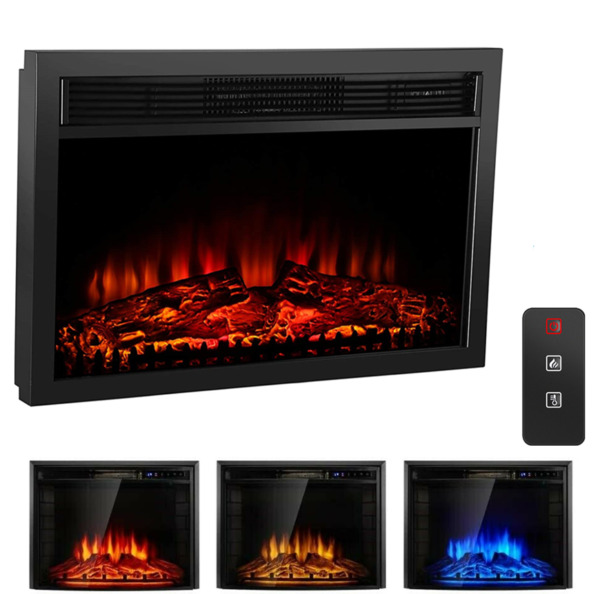 Electric 26quot; Fireplace Embedded Insert Heater Glass Log Flame DR