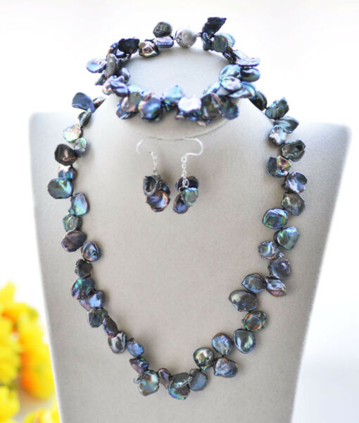D0404 18mm Peacock Black Slice Keshi Pearl Necklace Bracelet Earring