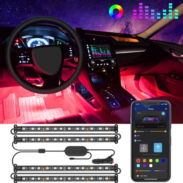 Govee Interior Car Lights LED Car Strip Lights with Two Line Waterproof Design $32.06