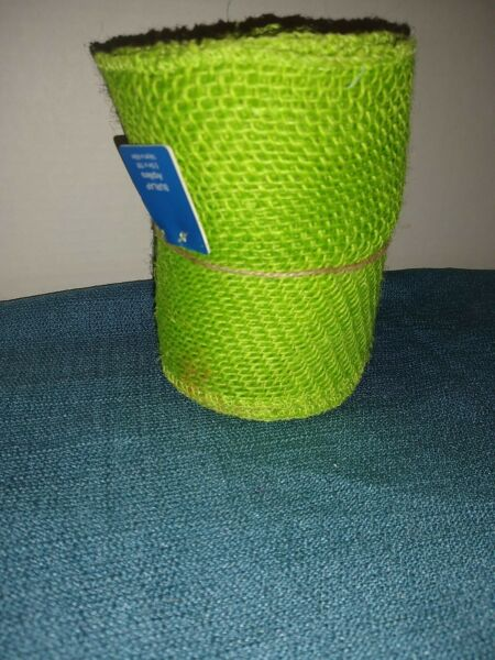 """Extra Wide Neon Green Burlap Ribbon 5.5"""" X 15 ft New"""