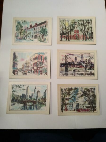 Vintage Esso Gas Set Of 6 Laminated Travel Cards George Shawe NY Phila. Wash DC