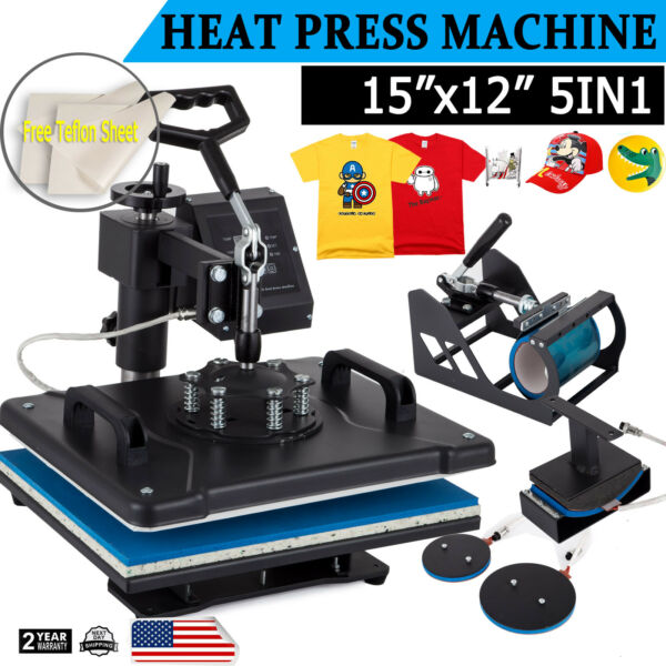 5 in 1 Heat Press Machine Swing Away T Shirt Mug Hat 12quot;x15quot; Digital Transfer $152.00