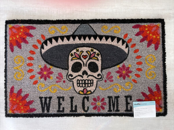 NEW TRAFFIC MASTER Skull Day Of The Dead 18 In x 30 In Indoor Outdoor Door Mat