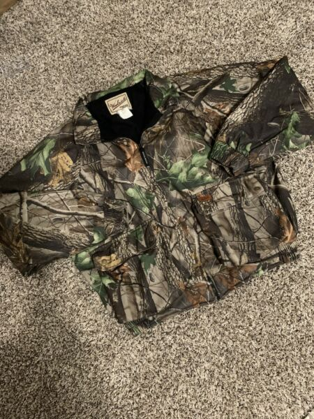Vintage Woolrich Camouflage Hunting Jacket Mens L Camo Outdoor Guide Realtree