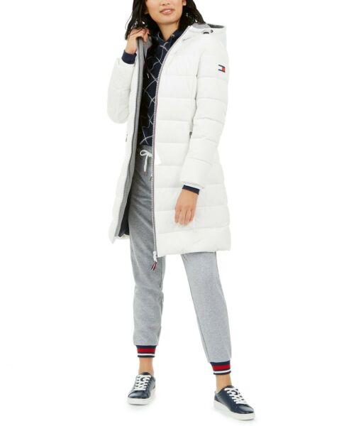 Tommy Hilfiger Front Zip Hooded Puffer Coat White Small $65.24