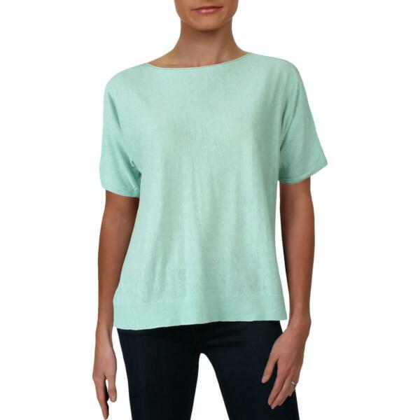 Eileen Fisher Womens Green Linen Bateua Neck Tee Top Shirt XS BHFO 9876 $18.22