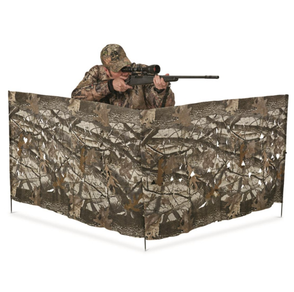 HuntRite 8#x27; Portable Hunting Blind in Realtree Hardwood Camo Die Cut 3D Fabric