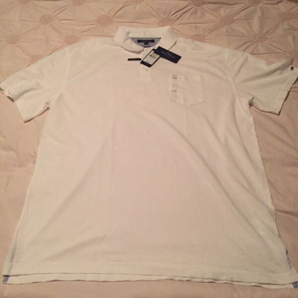 Men's NWT Tommy Hilfiger White Short Sleeve Casual Classic Polo Slim Fit XXXL $29.99