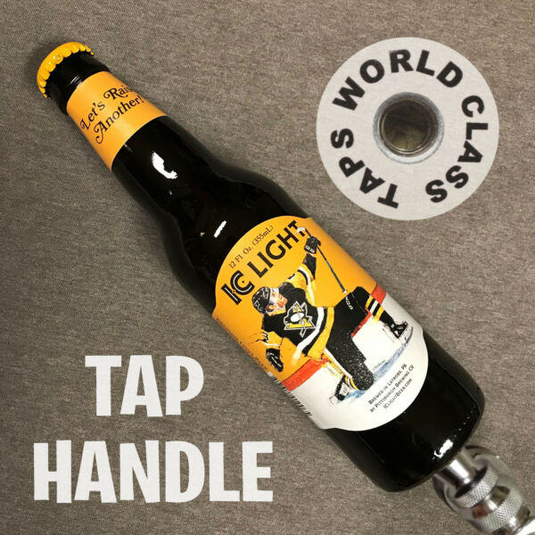 NEW limited PITTSBURGH PENGUINS IC LIGHT beer bottle TAP HANDLE Iron City HOCKEY