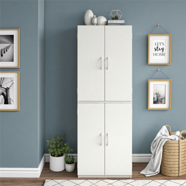 Kitchen Pantry 4 Door Storage Cabinet Tall Wood Organizer Adjustable Shelf White