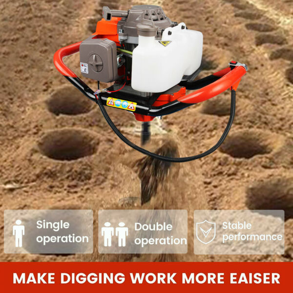 72CC 3HP Gas Powered Post Hole Digger Earth Auger Digging Engine Universal