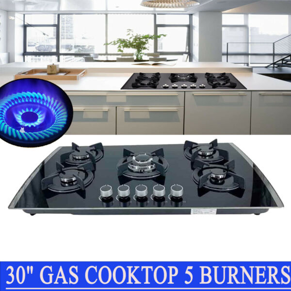 30quot; Gas Cooktop 5 Burners Built in Gas Stove LPG NG Convertible Tempered Glass