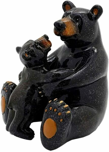 Ebros Animal World Black Bear Family Mother and Child Figurine 5quot;H Home Decor