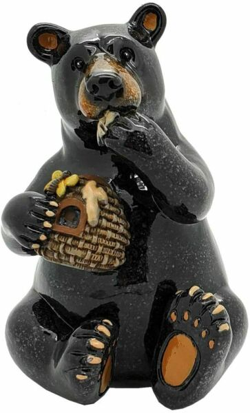 Ebros Animal World Black Bear Eating Honey Figurine 5.25quot;H Home Decor