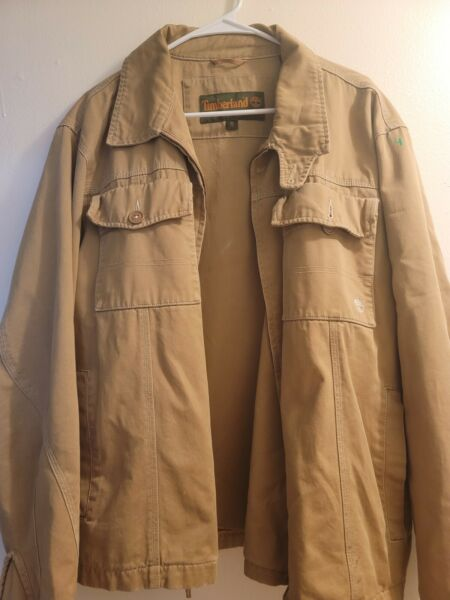 Timberland WeatherGear Zip Up Jacket Khaki Large $24.99