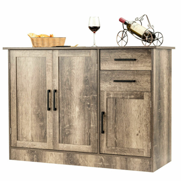 Buffet Storage Cabinet Console Table Kitchen Sideboard Drawer Natural Organizer