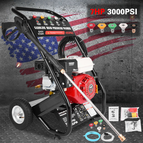 3000PSI 3600RPM Gas Powered Cold Water High Pressure Washer 7HP 215cc 4 Stroke