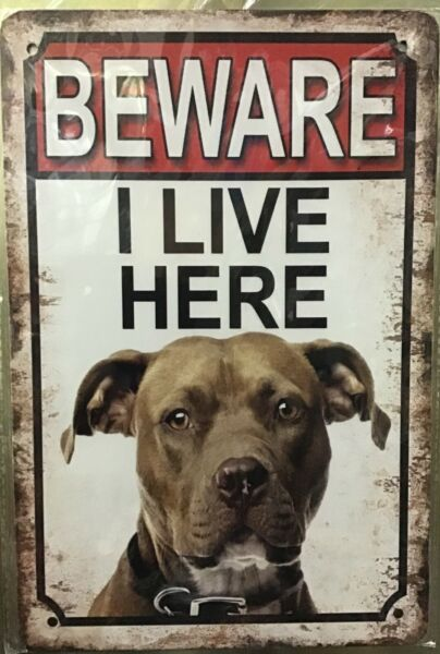8x12 Tin Sign Beware pit bull dog warning wall poster plaque new $9.99