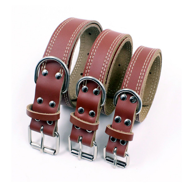 Leather Dog Collar Real Genuine Brown Leather Dog Collar Small Medium Large $16.95