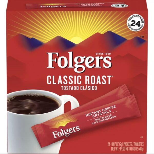 Folgers Classic Medium Roast Instant Coffee 24 Single Serve Packets Box