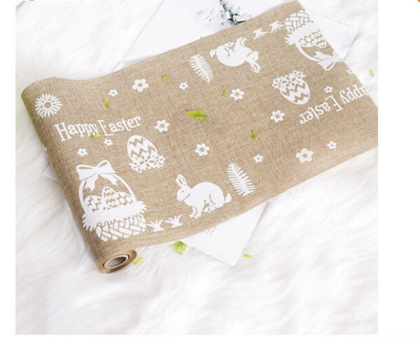NEW Burlap Table Runner Happy Easter Kitchen Dining Tablecloth 270cm X 28cm