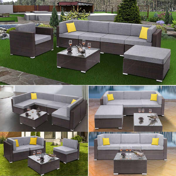 1 7 PCS Patio PE Wicker Rattan Corner Sofa Sectional Home Couch Furniture Sets $614.99