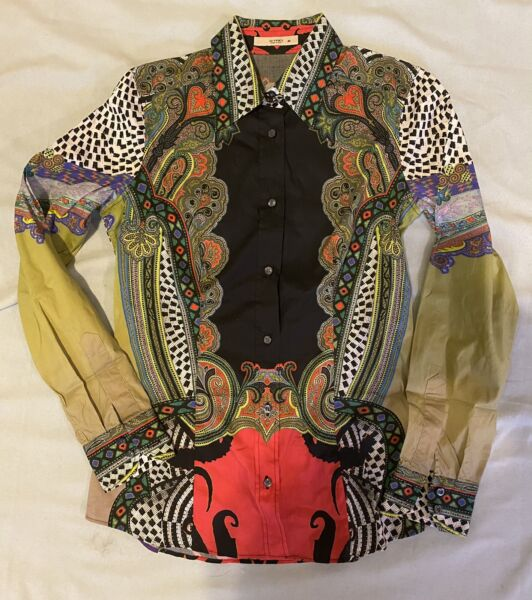$530 Etro Size 40 2 4 Top Blouse Shirt Black Red Green Paisley Print Stretch $124.00