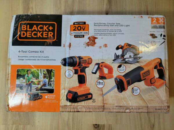 Black amp; Decker 20V MAX Cordless Li Ion 4 Tool Combo Kit w 2 Batteries Brand New