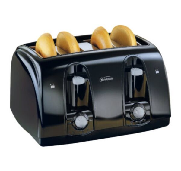 Cool Touch 4 Slice Wide Slot Black Toaster
