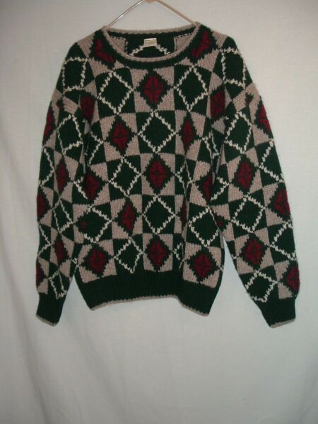 80s Chunky Wool BIGGIE Sweater Jumper Colorful Men's Hong Kong Coogi Style $15.00