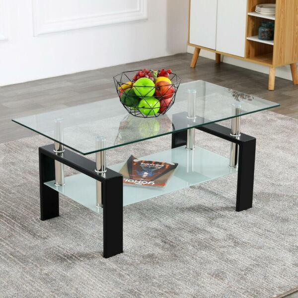 Modern Side Highlight Glass Top Coffee Table w Shelf Living Room Rectangle New