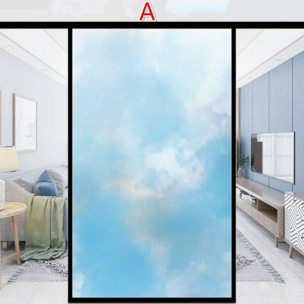 DIY PVC Gradient Color Window Film Static Cling Frosted Stained Glass Stickers $15.63