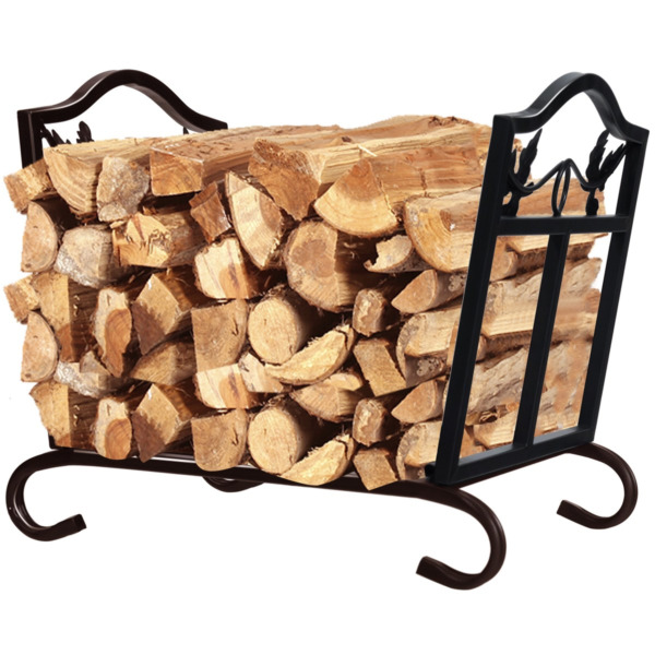 Foldable Firewood Log Rack Steel Sturdy Wood Storage Holder for Fireplace Black