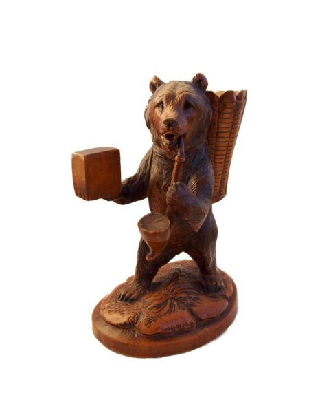 Superb Black forest Bear Sculpture Carved Wood