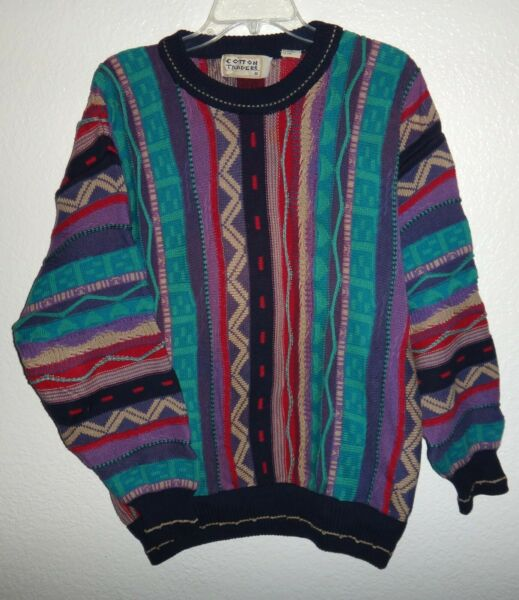 EUC MENS M VINTAGE 90#x27;S COTTON TRADERS COLORFUL SWEATER BIGGIE COOGI COSBY STYLE $88.88