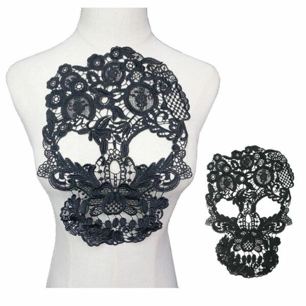 Black Embroidered Skull Collar 31CM Punk Rock Lace Trims Sew Patch Wedding Dress $8.94
