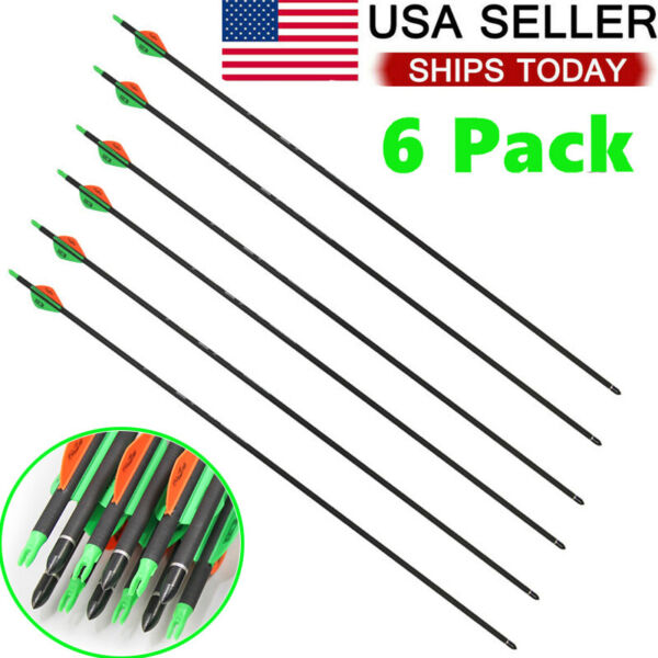 6 Pcs Archery Spine Carbon Hunting Target Arrows Recurve Compound Bows Hunting $23.99