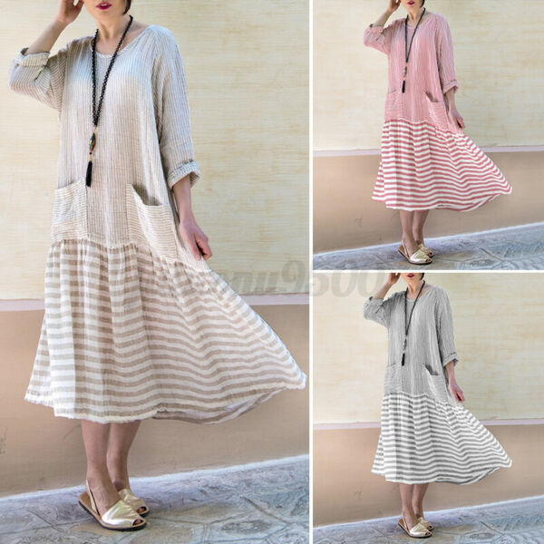 Womens Long Sleeve Vintage Dresses Plus Size Shirt Dresses Kaftan Pullover Dress