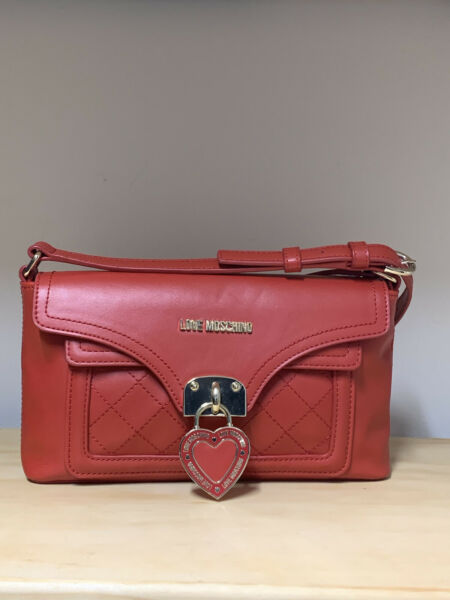 LOVE MOSCHINO Faux Leather Logo Red Crossbody Bag $99.00