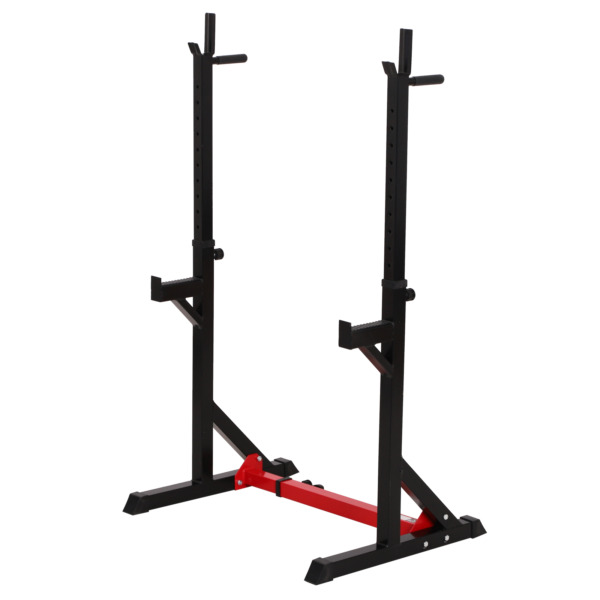 Soozier 2 Piece Pair Steel Height and Base Adjustable Barbell Squat Rack $130.73