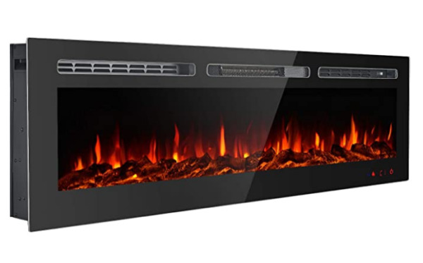 50#x27;#x27; Electric Fireplace Recessed Wall Mounted Standing with Remote Control