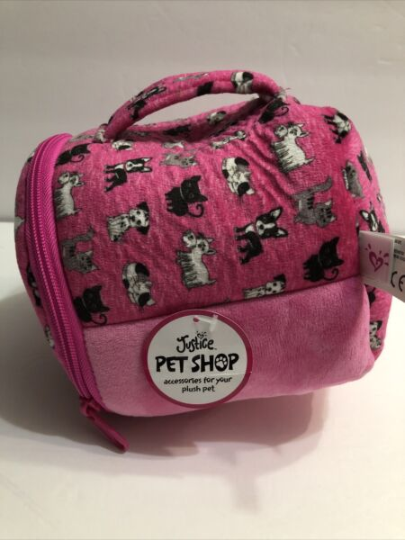 Justice Pet Shop NEW Toy Carrier Pet Plush Soft Toys Puppy Kitty House Sequin $14.99