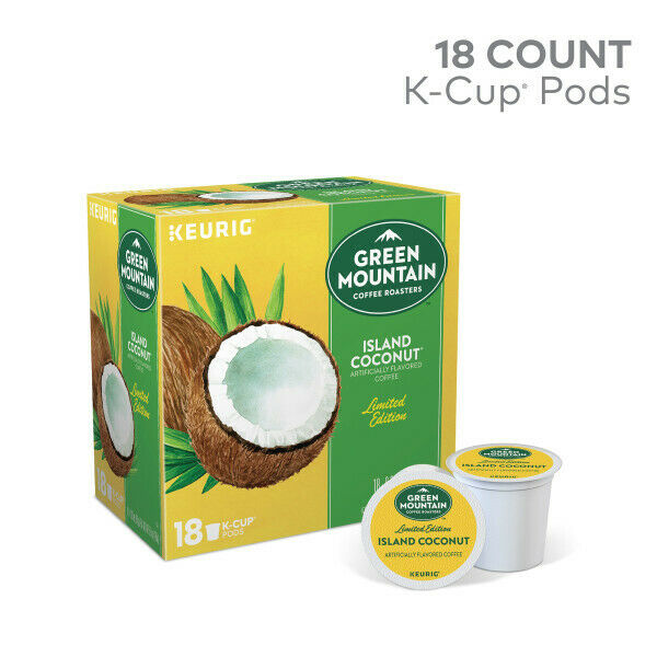 4 Boxes X 18 Keurig Green Mountain Island Coconut K Cups 72 Total