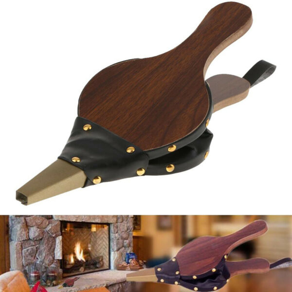 Vintage Bellows for Fire place Wood Blower Hand Wooden with Hanging Strap Indoor $24.68
