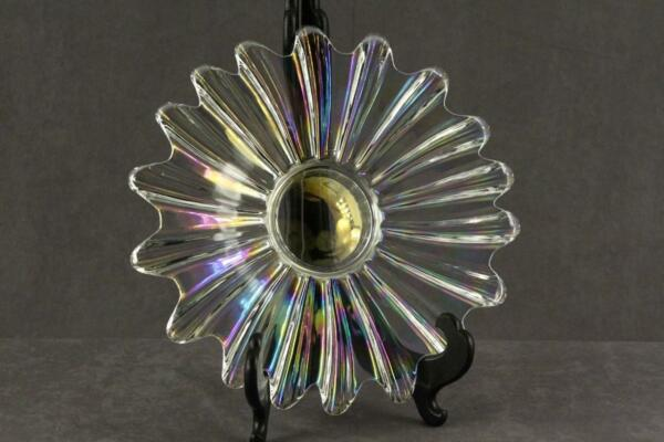 Vintage Federal Glass Iridescent Ribbed CELESTIAL Serving Plate 11 3 8quot; Wide