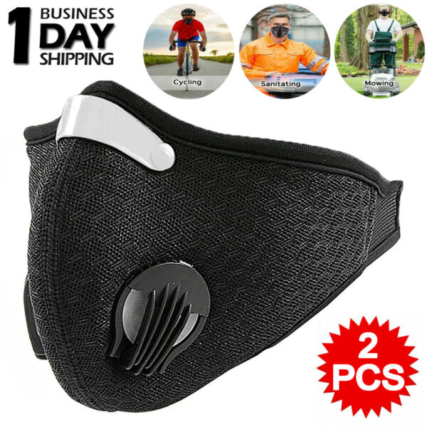 2PCS Sport Cycling Bike Face Mask Active Carbon Filter Breathing Valves Washable $7.84