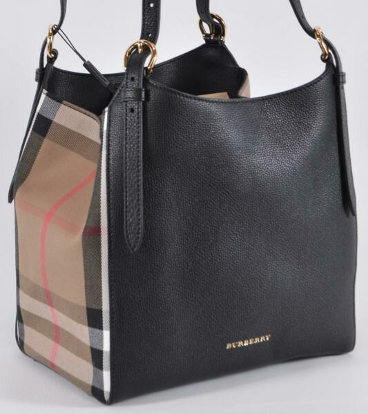 New Burberry Black CANTERBURY Derby Leather House Check Small Satchel Purse $832.50
