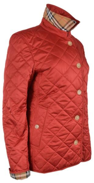 New Burberry Women#x27;s $590 Red Quilted FRANKBY Nova Check Jacket L $413.10